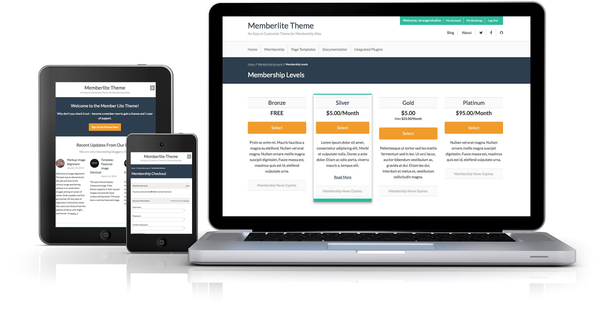 Memberlite Theme Screenshots on Desktop and Mobile